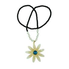 N-5175 Korea Style Beaded Sweater Chain Crystal Big Sun Flower Necklace