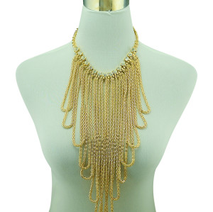 N-5173 European Style Fashion Rhinestone Gold Plated Wide Chain Tassels Ball   Statement Chunky Necklace