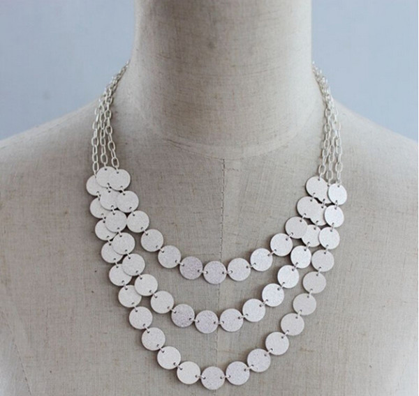 N-5171 Korea Style multilayer link chain round charms bright choker statement Necklace