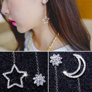 E-3296   New elegant delicate champagne gold silver star moon long drop earrings rhinestone snowflake dangle earrings