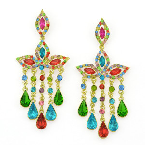 E-3300  Bohemian Wedding Jewelry Rhinestone Big Crystal Shinning Dangle Fringe Luxury Earrings