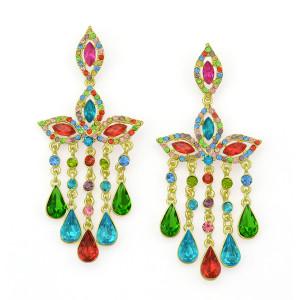 E-3300  Bohemian Wedding Jewelry Rhinestone Big Crystal Shinning Dangle Fringe Luxury Earrings