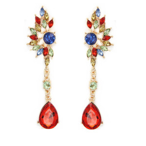 E-3288  European gold plated colorful stone crystal water drop wings shaped long Earrings