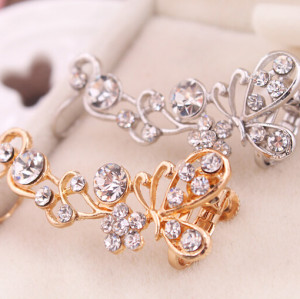 E-3287  Korean fashion silver plated charming rhinestone butterfly earhook ear clip earrings