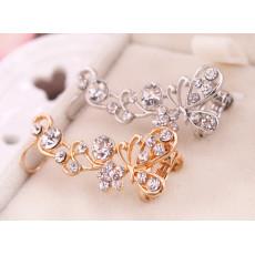 E-3287  Korean fashion silver plated charming rhinestone butterfly earhook ear clip earrings
