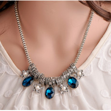 N-5181  Korea Style Silver Metal Rhinestone Pearl Crystal Necklace