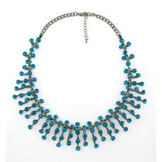 N-5188   Korea Style Silver Gun Black Metal Crystal Necklace Wedding Jewelry