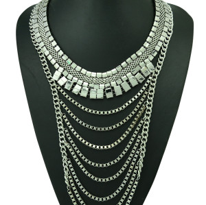 N-5187   European  Style Silver Gold Plated Metal Wide Chain Multilayer Tassel Crystal rhinestone chunk statement  Necklace  Jewelry
