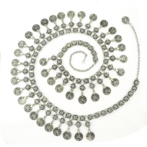 N-5178  Turkish Gypsy Silver Metal Handmade Floral Boho Beachy Ethnic Tribal Festival Jewelry Coin Belt Belly Body Chain Waist 1m