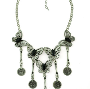 N-5192 Bohemian Fringe Carving Butterfly Coin Statement Necklace, Boho, Gypsy, Antalya, Ebony, Silver, Festival, Coachella, Turkish, India, Itor, Ethnic