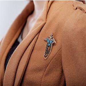 P-0142 European style retro palace tassel chain brooch crown-headed eagle symbol wings crystal brooch