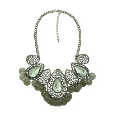 N-5207   Turkish Fashion Vintage Style Handmade Boho Hollow Out Drop Crystal Coin Necklace Metal Festival Costume