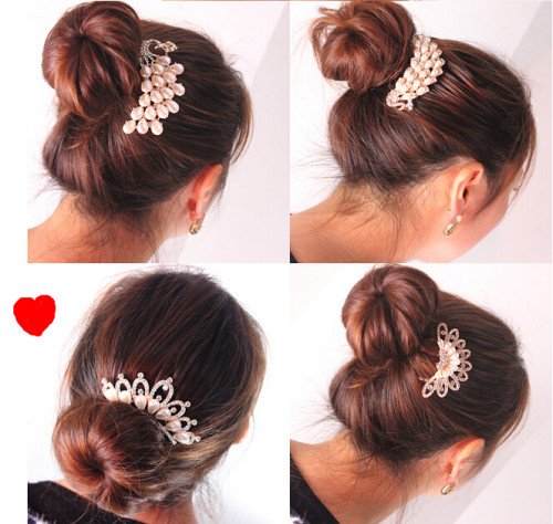 F-0191  Fashion Korean Style Gold Plated Alloy Pearl Rhinestone Crown Flower Love Of Butterfly Hair Comb