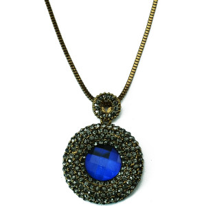 N-5203   vintage style bronze snake link chian big round charms rhinestone blue crystal pendant long necklace