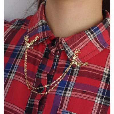 P-0141 Korean style luck Christmas deer personal fashion tassel chain metal collar pin collar brooch