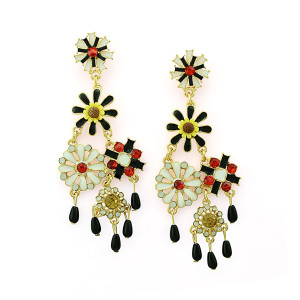 E-3304 European Style gold plated crystal  Enamel Flower Fringe dangle earrings