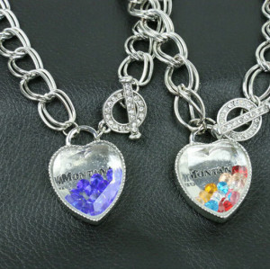 N-5208  New romantic blue glass heart crystal beads pendants necklace multi chunky chain necklace women costume accessories gifts