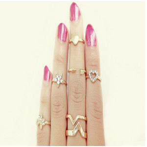 r-1144 Korea style gold plated 6pcs clover star heart women tail ring