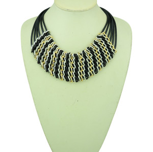 N-5206  Korea Style Link Chain  Gold Plated Round Flower Chunky Necklace Women 4 Colors