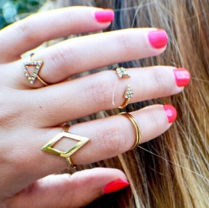 R-1149 European fashion style rhomb triangle arrows diamond ring sets