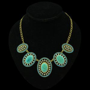 N-5220  Vintage Golden Alloy Rhinestone Ellipse  burst Stone Necklace