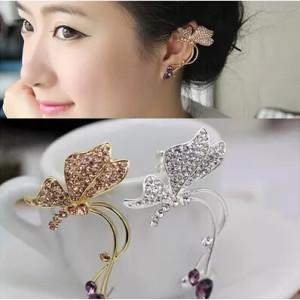E-3316-G Beautiful korean fashion crystal butterfly ear clip no piercing charm clip earrings