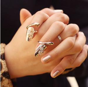 R-1146 European style personality nail rings charming rhinestone ring finger ring false fingernails for fashion women