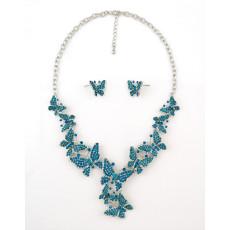 N-5221  Silver Golden Alloy Rhinestone Butterfly Earring Necklace Jewelry Set