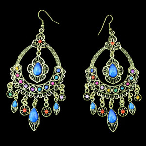 E-3318 New Arrival Vintage Ethnic Women Gold Plated Multicolor Rhinestone & Resins Large Dangling Earrings Jewelry