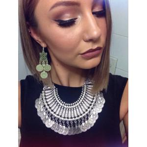 E-3317 Bohemian style silver tribal ethnic clover flower coin dangle earrings brincos grandes