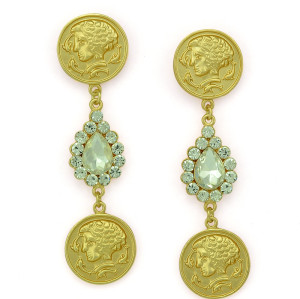 E-3307 European vintage fashion yellow gold head portrait coin pendants dangle earrings rhinestone tear drop earrings for women