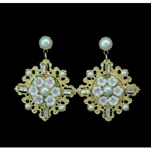 E-3348 Baroque fashion style gold plated Clear crystal Pearl Flower Dangle earrings