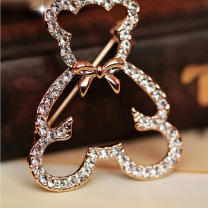 P-0150 European Gold  Plated Alloy Rhinestone Cute Bear Brooch Animal Jewelry