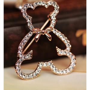 P-0150 European Gold  Plated Alloy Rhinestone Cute Bear Brooch Animal Jewelry