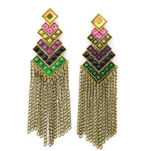 E-3347 Vintage antique bronze metal geometric colorful crystal pendants earrings long chain tassel drop earrings