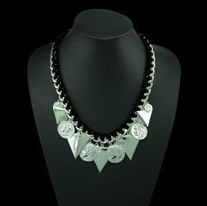 N-5227 fashion silver plated alloy waist black ribbon chain triangle head photo coin pendant choker necklace