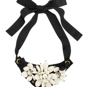 N-5189   Korea Style black silk chain ribbon bead rhinestone collar statement Necklace
