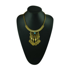 N-5231 fashion silver plated alloy crescent rhinestone hollow out flower coin fringe choker necklace earring set