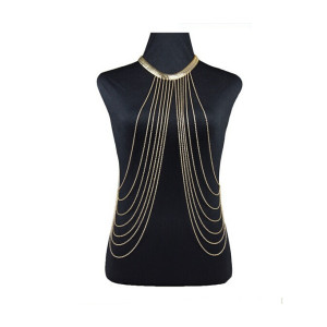 N-5223 European  fashion style metal gold plated wide snake chain body chain jewelry  women
