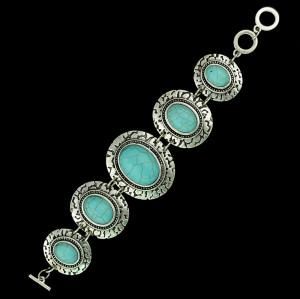 B-0415  European vintage style alloy silver plated turquoise fashion bracelet bangle