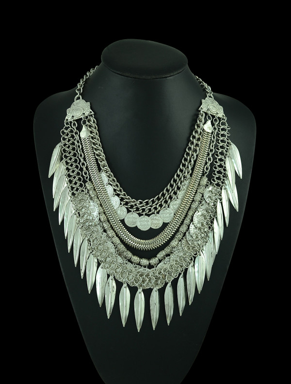 N-5241  Lady fashion jewelry Gypsy tribal handmade multi strand antique silver link&snake chain coin&leaves fringe chunky necklace