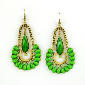 E-3351 fashion vintage style ethnic women gold plated alloy rhinestone & Resins Large Dangling Earrings Jewelry