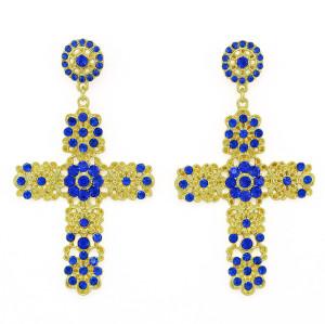 E-3345 Luxury Palace Gold Plated Blue Crystal Small Flowers Dangle Earrings Fashion Cross Pendants Earrings Jewelry