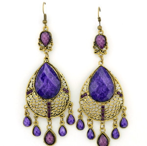 E-3352 Bohemian Style Golden Rhinestone Acrylic Drop Gem Hollow Out Dangle Earring