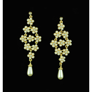 E-3324 New alloy gold rhinestone small flower pendants drop earrings long pearl earrings for women