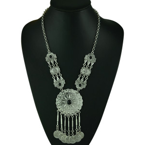 N-5236  Gypsy Bohemian Beachy Chic Statement Long Tassel  Necklace Boho Festival Silver  Fringe Bib Coin Ethnic Turkish India Tribal