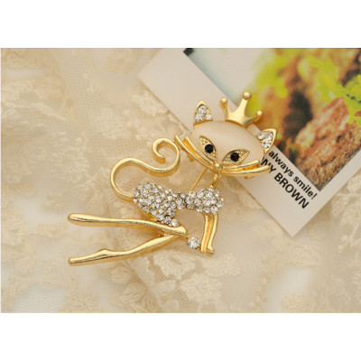 P-0149 Korean fashion style gold plated opal princess cat brooch high-grade rhinestone musical note brooch shawl buckles 2 styles 2 colors