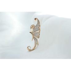 E-3323 Korean Fashion Gold  Full Clear Rhinestone Butterfly  Ear Cuff No Pierced Clip Earrings