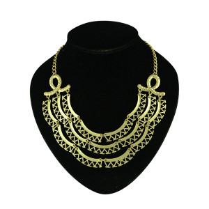 N-5248  Europea style gold plated multi layer three strand crescent pendant women necklace