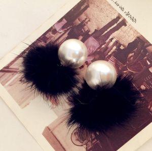 E-3332 korea fashion feather warm big pearl 3 colors stud ear Earring
